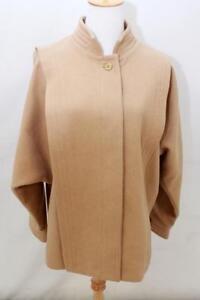 VTG-80s-Womens-Retro-Camel-Tan-WOOL-DOLMAN-SLEEVE-Jacket-Blazer-Coat-Sz-AUS-12-M