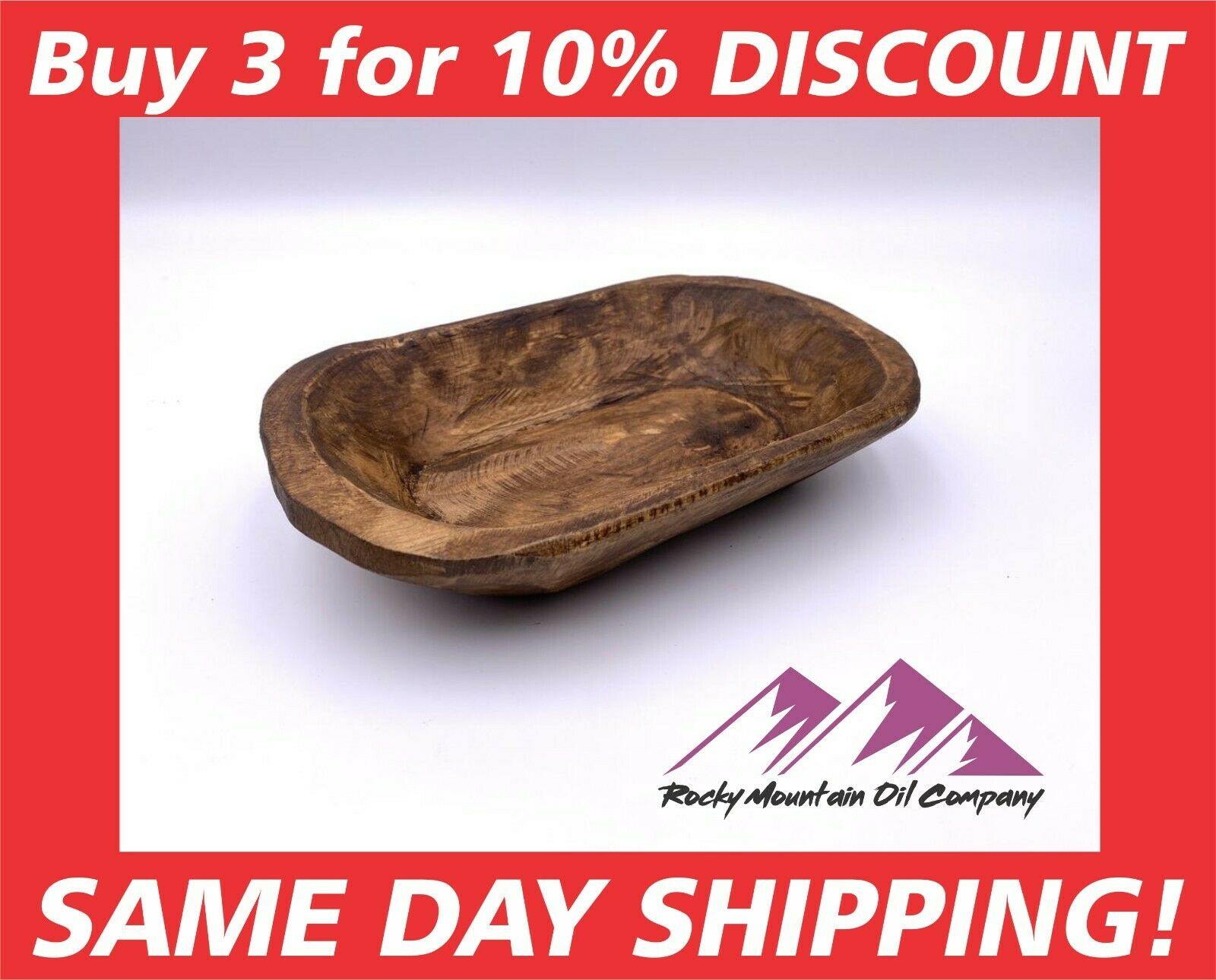 CARVED WOODEN DOUGH BOWL RUSTIC TRAY WOOD TRENCHER 8-10