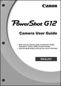 canon powershot g12 digital camera user guide instruction manual ebay rh ebay com canon powershot g12 user manual pdf canon g12 user manual