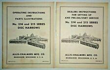 Allis Chalmers 214 215 Disc Harrow Set Up Operators Parts Manuals Original