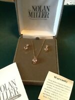 Nolan Miller's Twinkling Pendant And Earring Set. Goldtone Pink Crystals Pierced