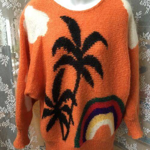 Sweater Palm Trees Rainbow Mohair Chunky Hand Knit