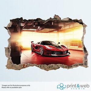 Red Ferrari Cool Car Garage Wall Smash Decal Sticker 3D Bedroom Vinyl Mural Art