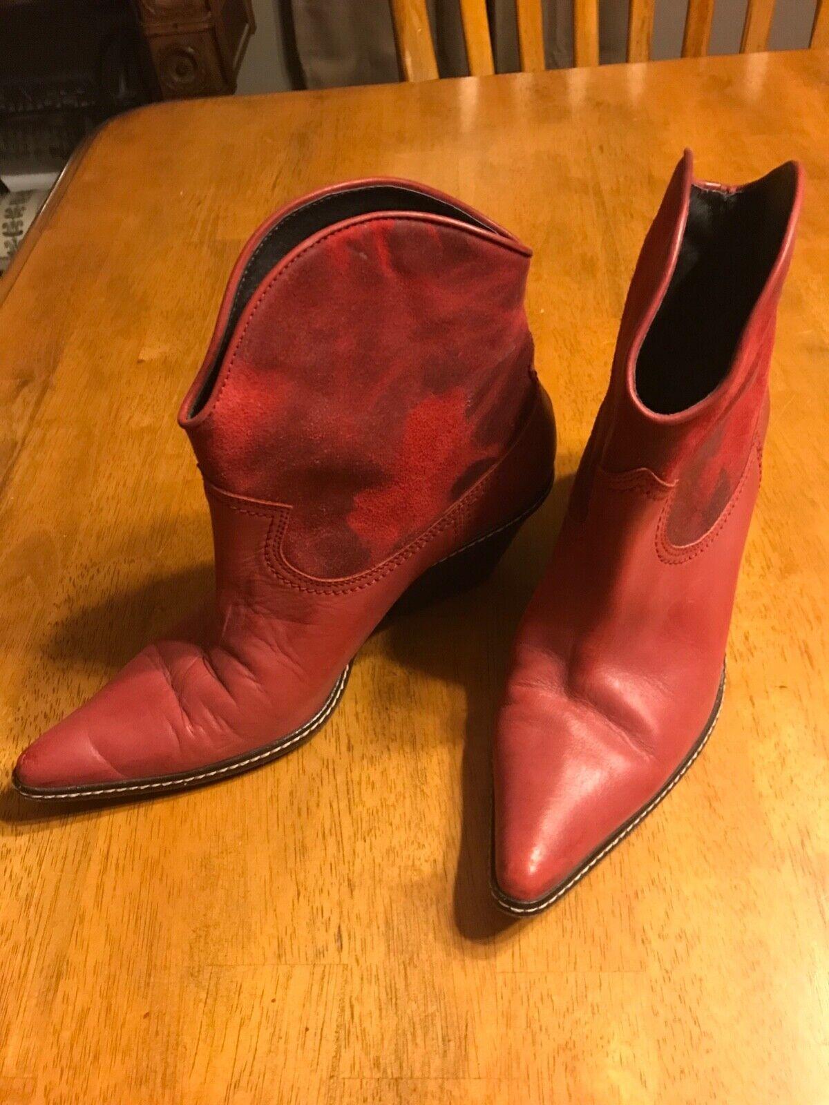 """Donald J Pliner Western Short Short Short Red """"Julisa"""" Leather Boots Size 9 4901f9"""