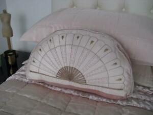 Pink Velvet & Silk Embroidered Fan Cushion Cover Glamour