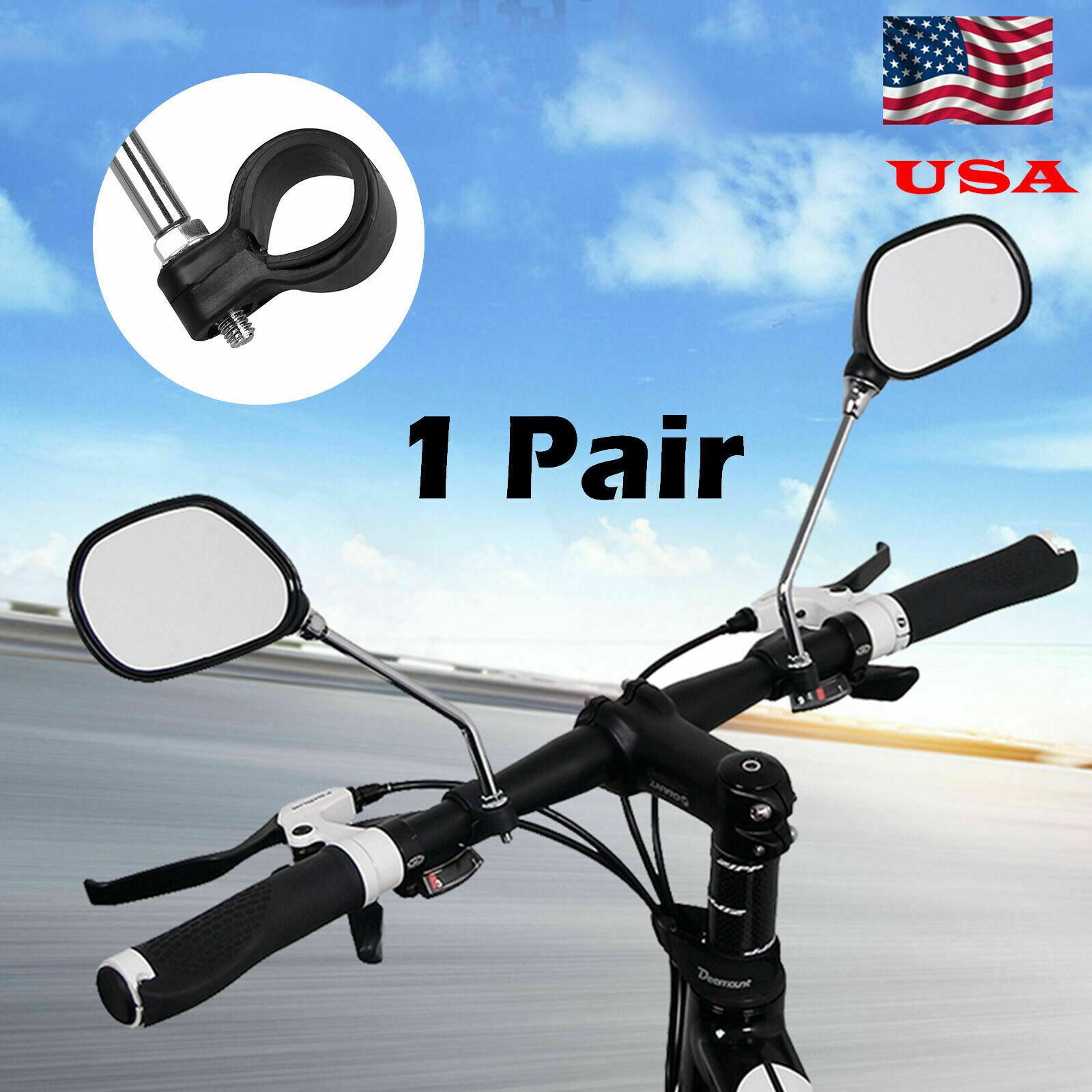 1 pair Bicycle Handlebar Rear View Bike  Mirror Rectangle Back  High Quality NEW