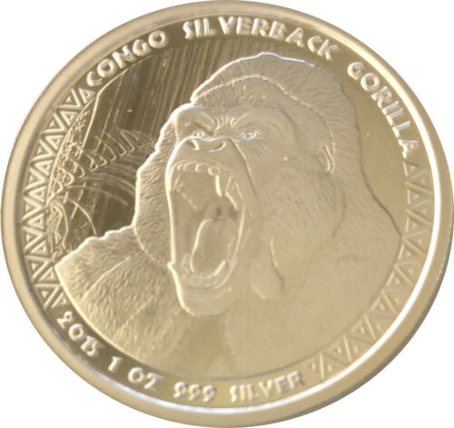 1oz .999 Silver 2015 5000 Francs Congo Silverback Gorilla Proof-like