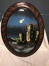 Antique Victorian Reverse Painting Glass Castle Bridge  Faux Wood Frame.