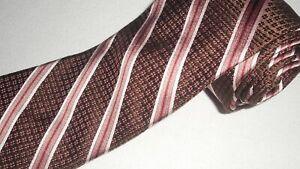 Ike-Behar-Tie-Luxury-Brown-Stripe-Jacquard-Woven-Thick-Necktie-Designer-Silk-NEW