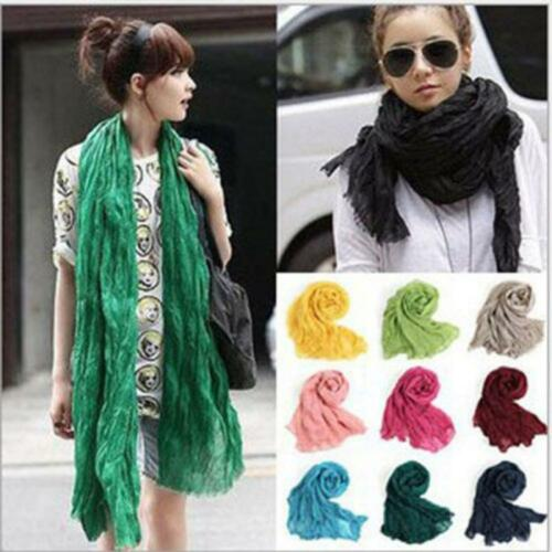 Women Spring Long Solid Candy Color Pashmina Shawl Wrap Scarf Silk Chiffon