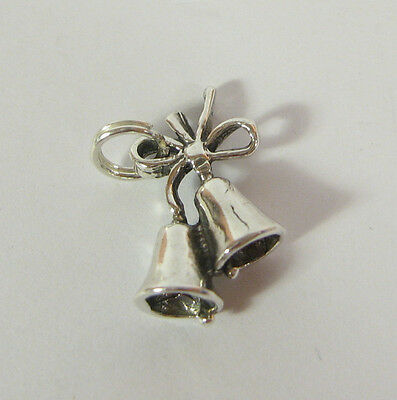 925 Sterling Silver Wedding Bells Charm and Pendant