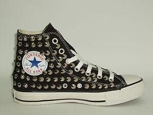 Converse all star Hi borchie scarpe donna uomo nero artigianali