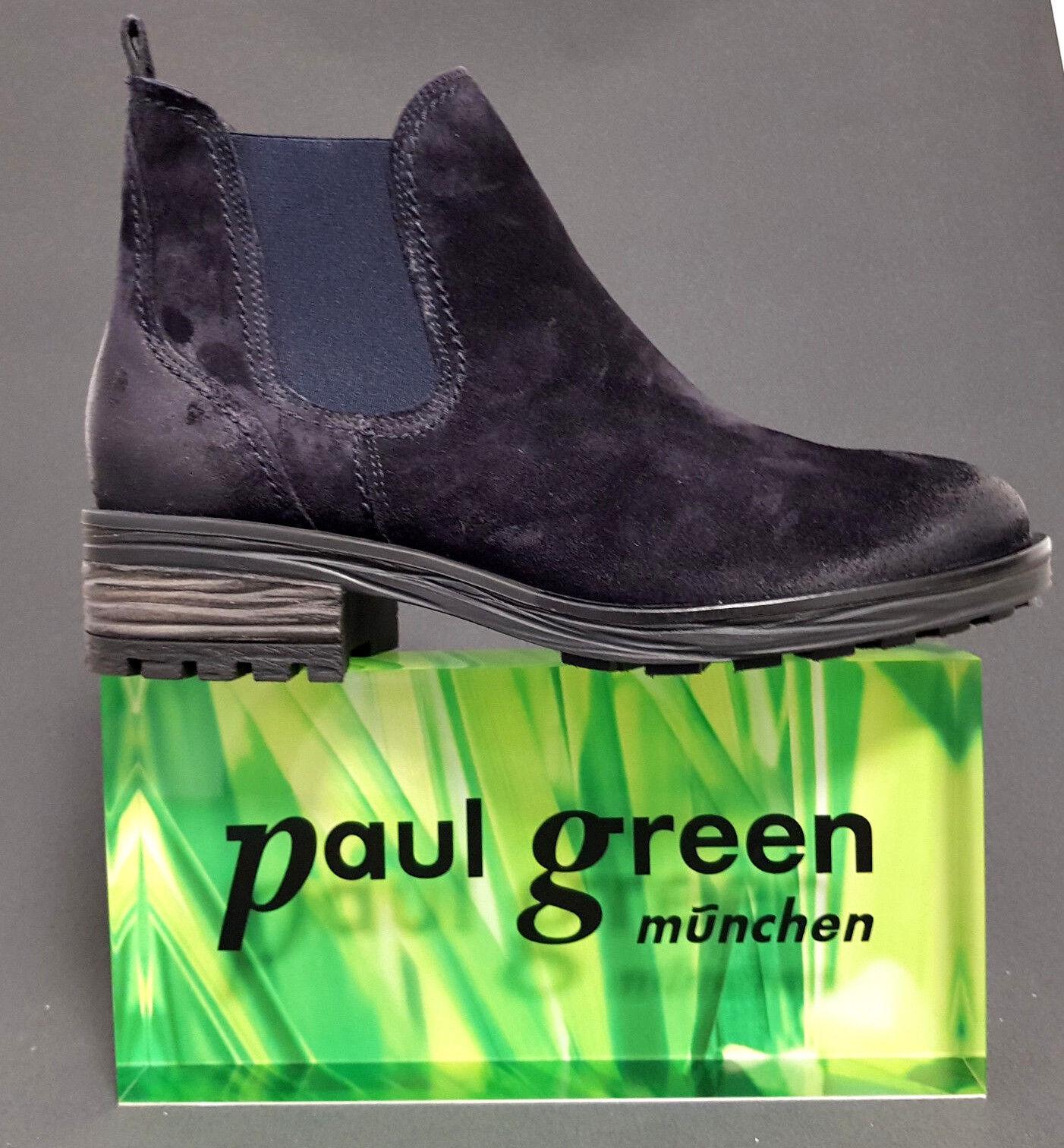 Paul Grün Damen Stiefel Blau Stiefeletten Chelsea Stiefel Winter Blau Stiefel Ocean Leder Neu 25eaf1