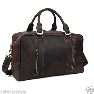 Large-Men-039-s-Genuine-Leather-Travel-Shoulder-Bag-Luggage-Duffle-Gym-Holdall-Tote