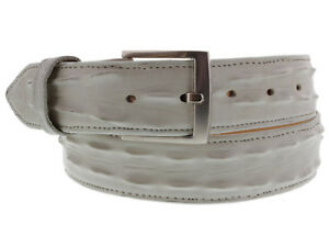 Mens Crocodile Tail Belt Print Leather Western Dress Gray Buckle Cinto