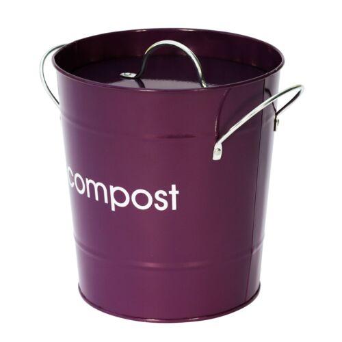 Violet Métal Compost Caddy-déchets alimentaires Bin/&150x6L Sacs compostables