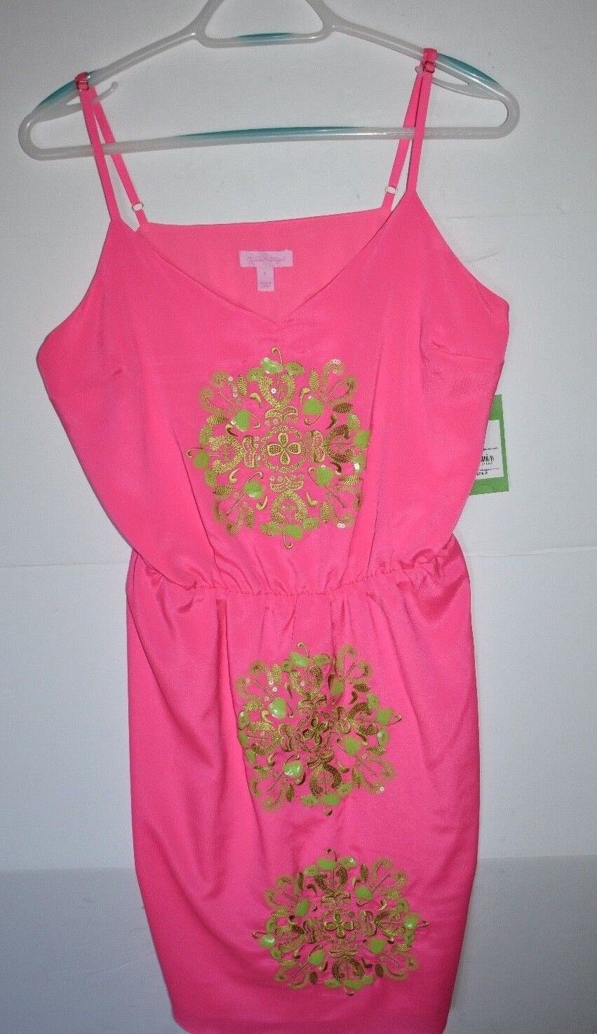 228.00 NWT Lilly Pulitzer Jenafer Dress Tropical Pin Sequin Embroidery SZ Large