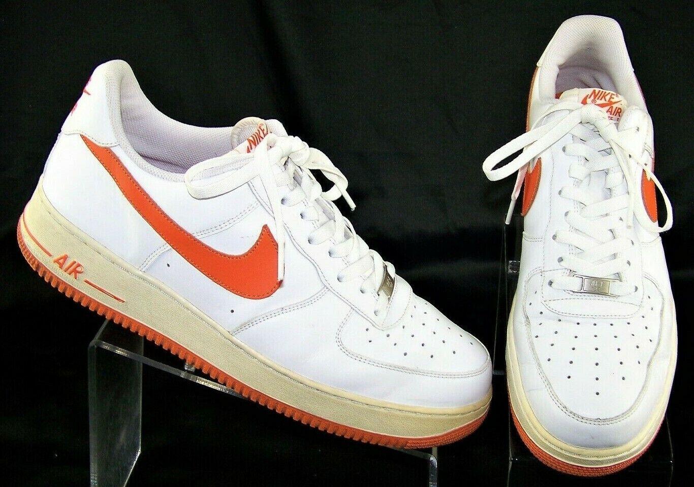 NIKE Air Force 1 White Orange Blaze Low 315122-181 Men Basketball Shoes US 13