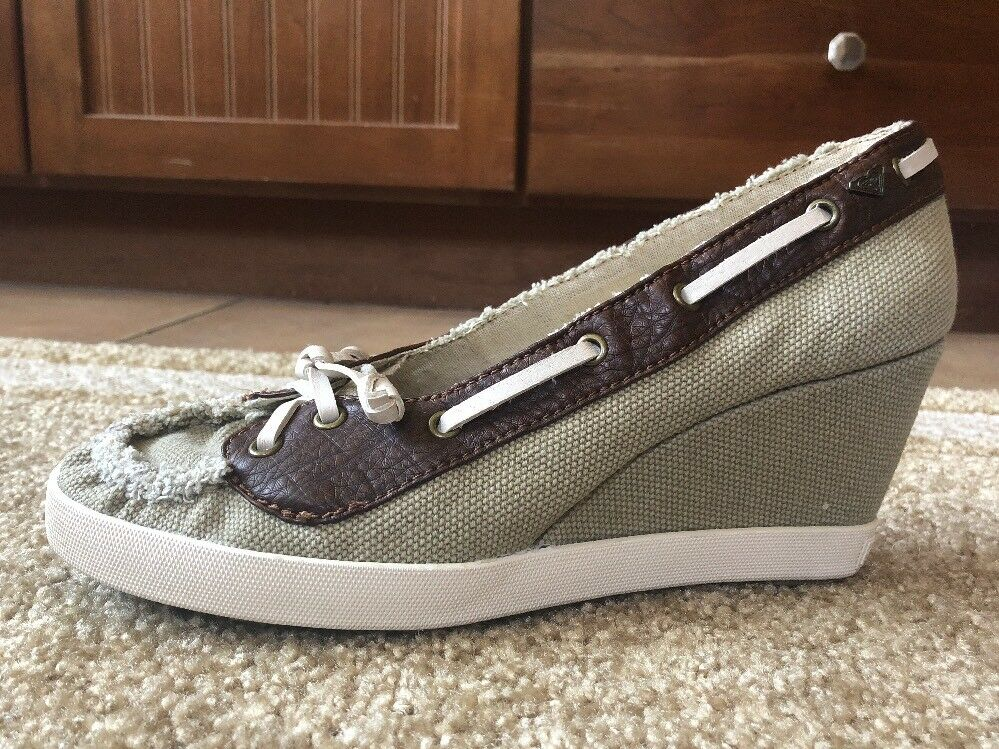 Roxy Overboard Slide Slip-On Boat shoes Wedge Heels Sandals Size 9 Two-Tone