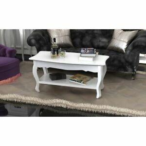 vidaXL Table Basse 2 Couches MDF Blanc Canapé Table de Salon Table d'Appoint