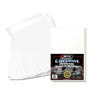 50 Pack BCW Modern Current Poly Bags & Acid Free Boards Premade for Comic Books