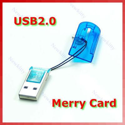 Mini USB 2.0 Micro SD TF-Flash Card Reader Memory Blue New