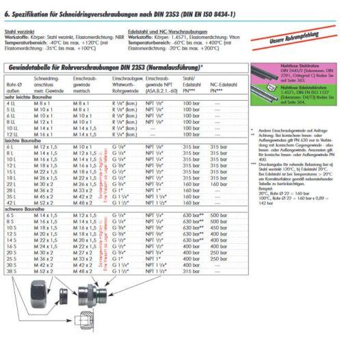 Gerade Reduzier-Schneidringverschraubung Verschraubung Stahl verz metrisch