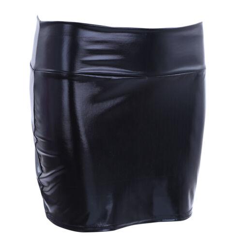 Women Shiny Leather Bodycon Pencil Short Mini Skirt High Waist Tight Clubwear
