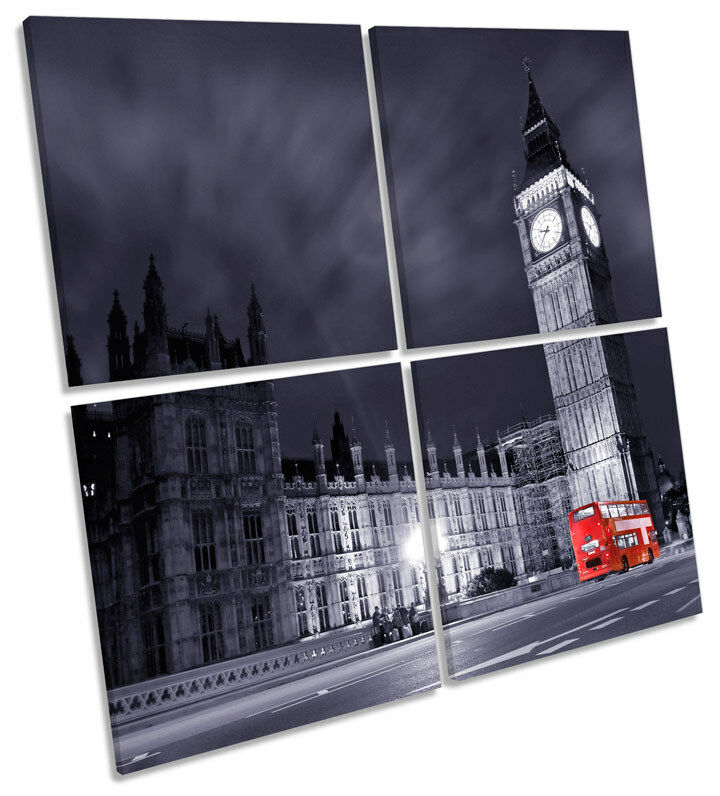 London City Bus Big Ben MULTI CANVAS WALL ART Square Picture