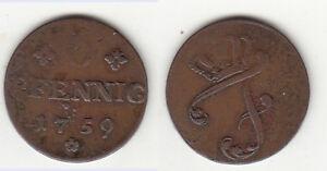 Cu-6-Pfennig-1759-Mecklenburg-Schwerin-Friedrich-Kunzel-338-ca-5-19-g