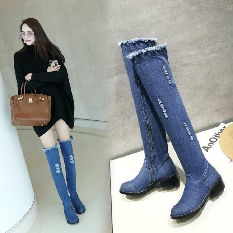 Hot Women Round Toe Denim Trendy Over The Knee Boot Jeans Low Cuban Heel shoes