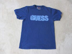 f2d31f84e089 VINTAGE Guess Jeans USA Shirt Adult Small Blue Spell Out Hip Hop ...