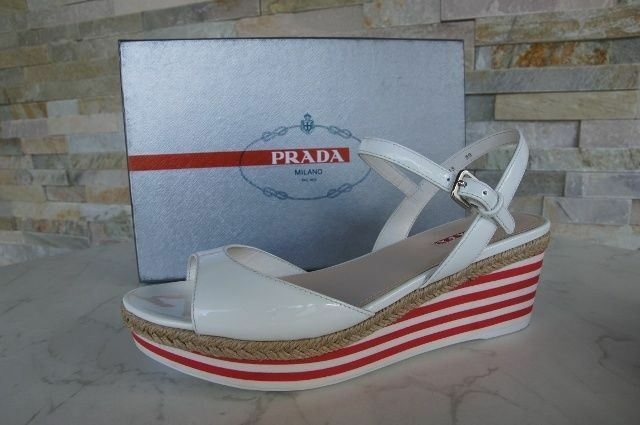 Prada Platform Ankle-Strap Sandal Sz. 40 Wedges shoes White Red New Previously