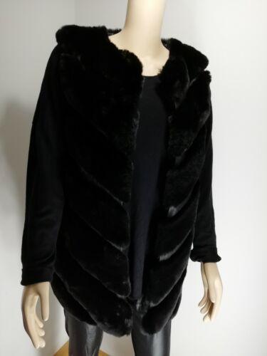 Black Fur Faux Gilet Luxurious Long Softest Feel Shaped Hem Size Fits 14-20 NEW