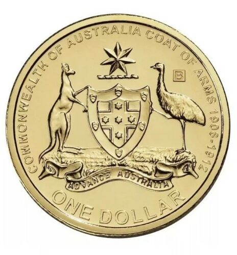 2008-B Australia Uncirculated Coat of Arms Privy Mark B One $1 Dollar Coin
