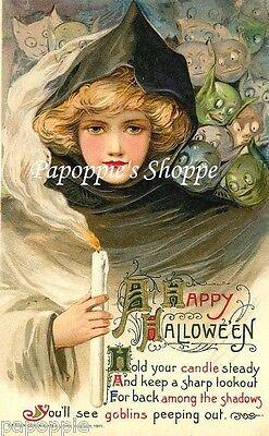 Fabric Block Halloween Vintage Postcard Image Goblins
