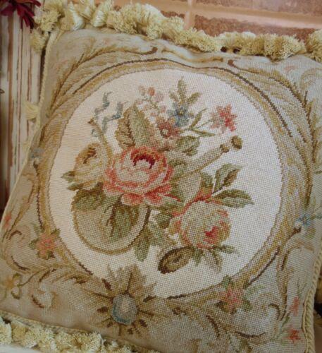 "14/"" Vintage Beautiful Rose Floral Beige Pastle Home Decor Needlepoint Pillow"