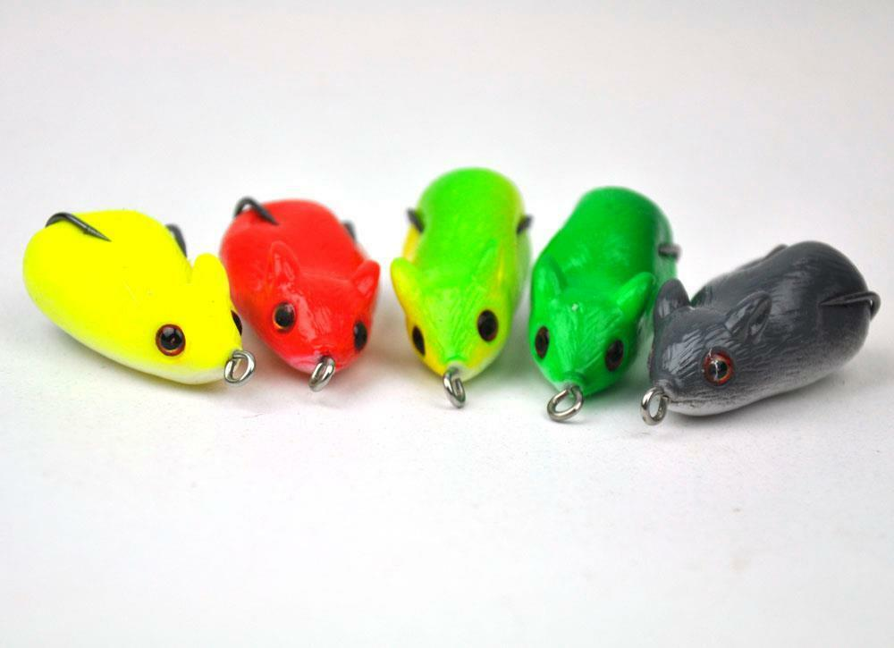 50Pcs Rubber Mice Fishing Lures Mouse Crankbaits Hook 5cm 8g With Retail Box