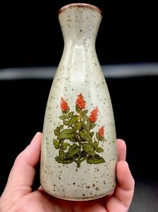 Vintage-Takahashi-Stoneware-Speckled-Bud-Vase-w-Orange-Flowers-1970s-Japan-5-5