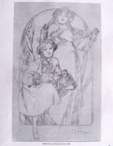 "Alfons Mucha Sketch Vtg Art Print Litho 9.5/"" x 12.25/"" ** SEE VARIETY"