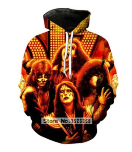Fashion Women//Men Funny KISS Rock Band 3D Print Casual Hoodies Sweatshirt Tops