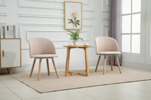 2x Fabric Dining Chair / Padded Seat / Wooden Leg / Light Brown