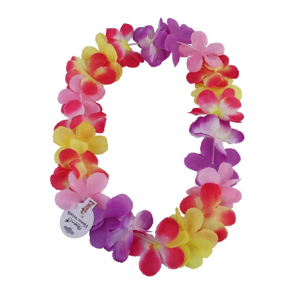 1pce 60cm Hawaiian Lei Garland Flower Wreath Multi Colours for Fancy Dress Party
