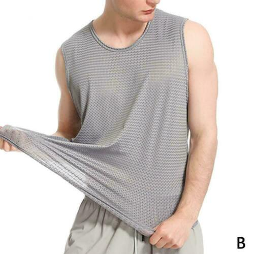 Herren Summer Mesh Sport Weste Ärmelloses T-Shirt Schnelltrocknendes M5V0