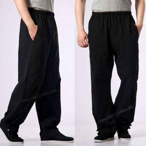 Men Cotton Casual Martial Fu Pants Kung 100 Chun Wing Shaolin Arts Bruce Lee OxHB7qw