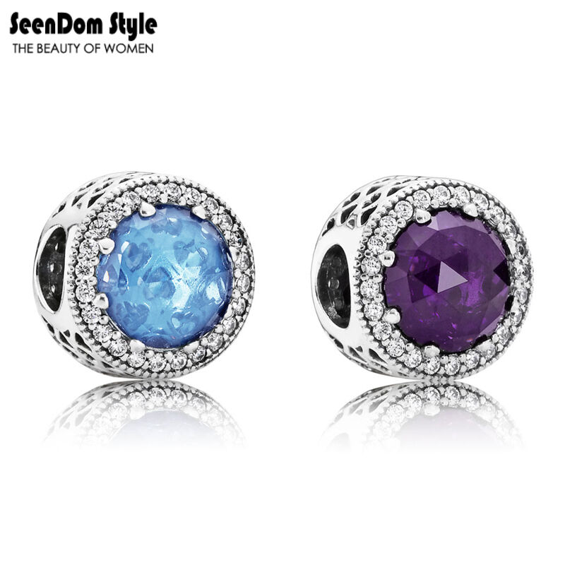 925 Sterling Silver Radiant Hearts CZ Stone Blue/Purple Austrian Crystal Pandora Charms
