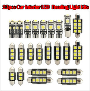 23Pcs-Car-LED-Interior-Reading-Light-Bulb-Trunk-Door-Replacement-Lamp-White-Kits
