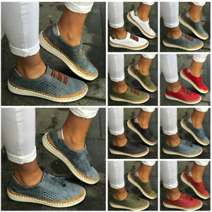 Fashion-Women-039-s-Casual-Hollow-Out-Round-Toe-Slip-On-Flat-Sneakers-Shoes-Size-USA