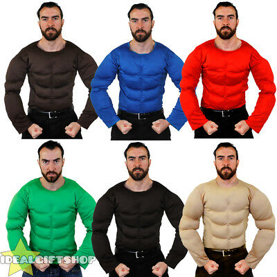 RED FAKE MUSCLE CHEST PADDED SHIRT TOP FANCY DRESS SUPERHERO BODYBUILDER