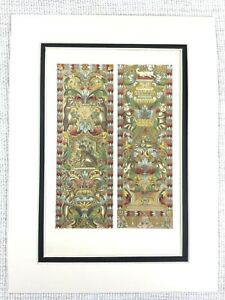 1857-Antique-Print-Italian-Embroidered-Silk-Tapestry-Hanging-16th-C-Monkey